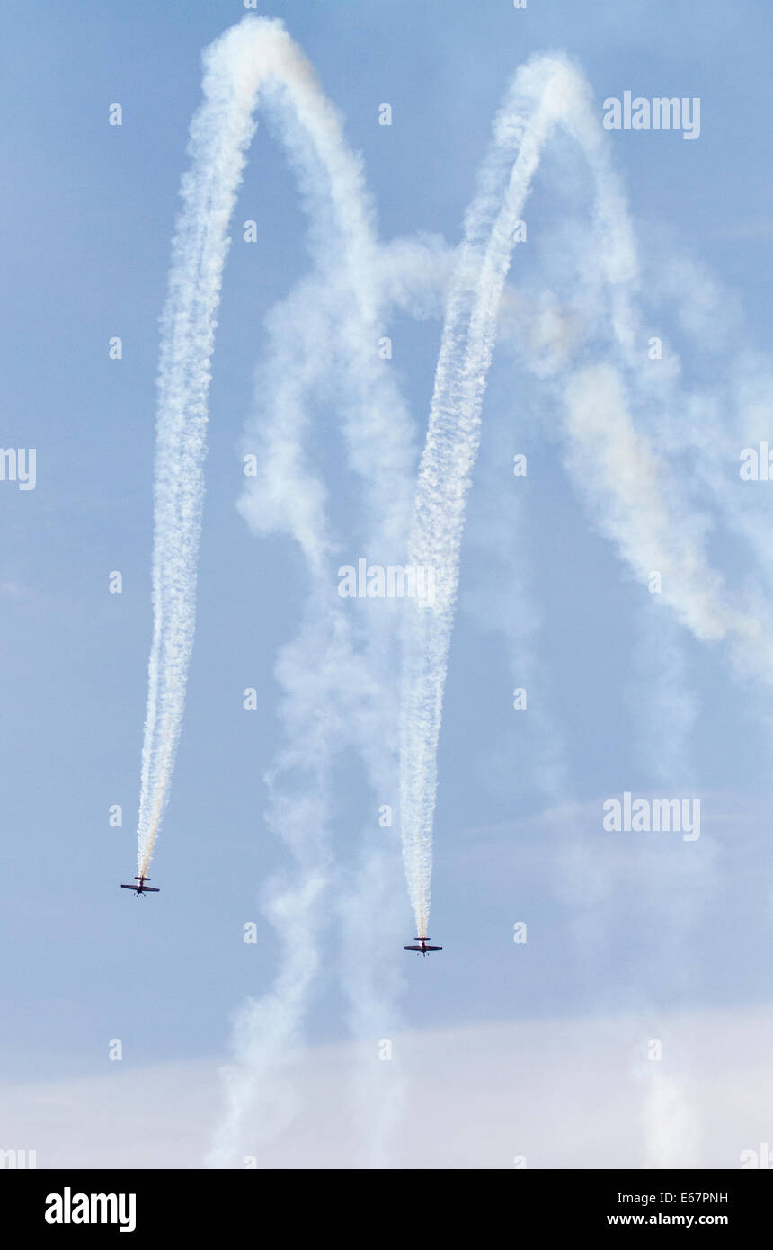 Helsinki, Finland, 17th of August, 2014.Flying Bulls Aerobatic Duo performed  at Helsinki-Malmi Airport on Finland - Stock Image