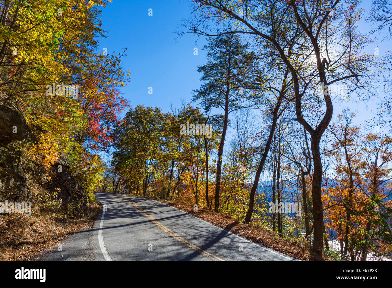 tail of the dragon road us 129 near deals gap just south of great smoky mountains national park tennessee usa