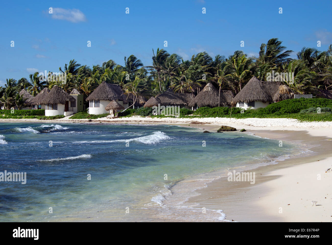 Rondavels on beach Turtle Bay Tulum Yucatan Mexico - Stock Image