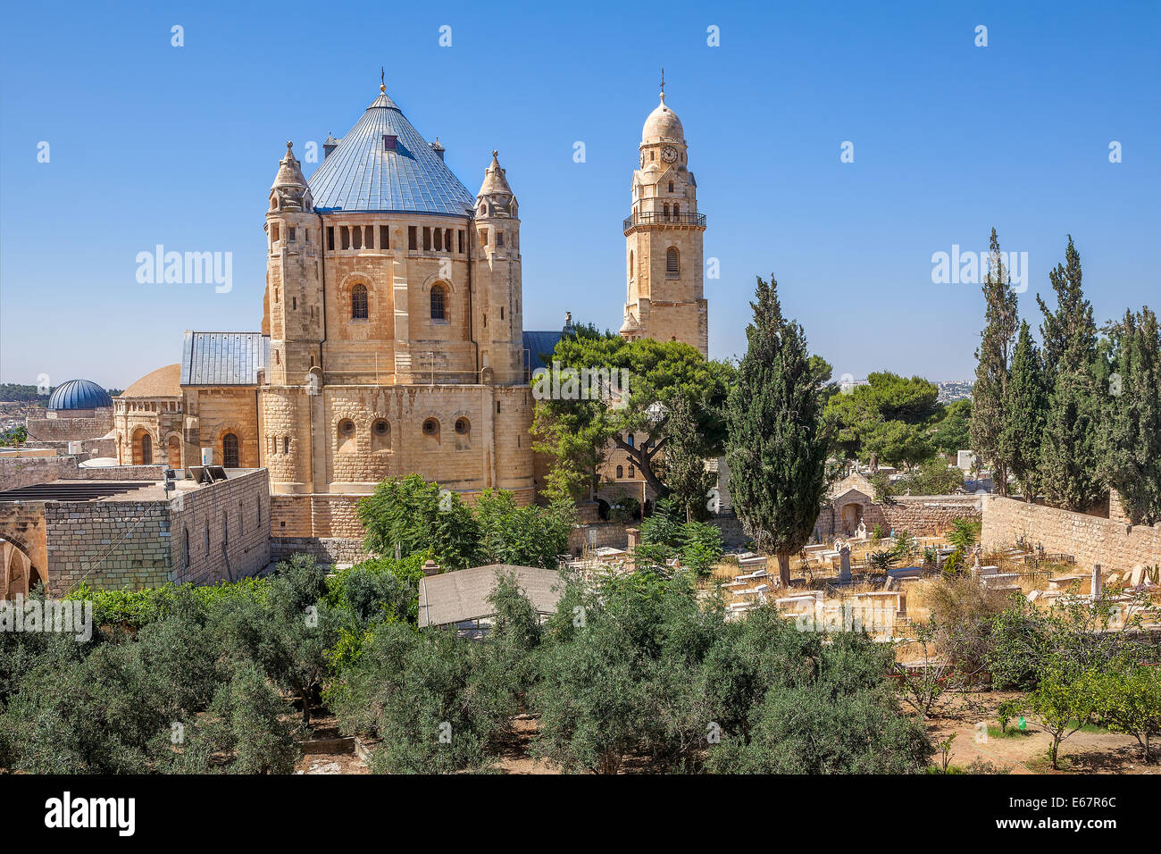 Abbey of the Dormition and catholic cemetery in Old City of Jerusalem, Israel. - Stock Image