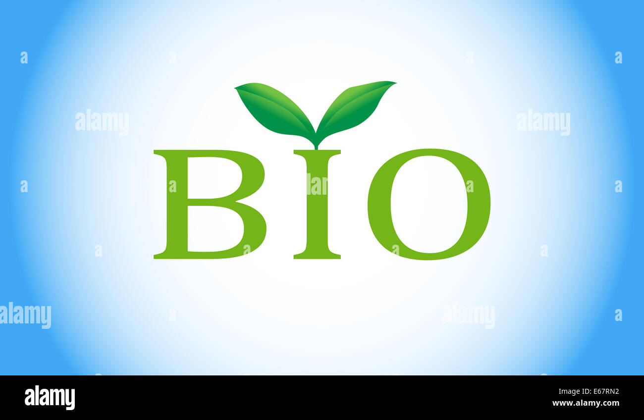 Bio word with green plant - Stock Image