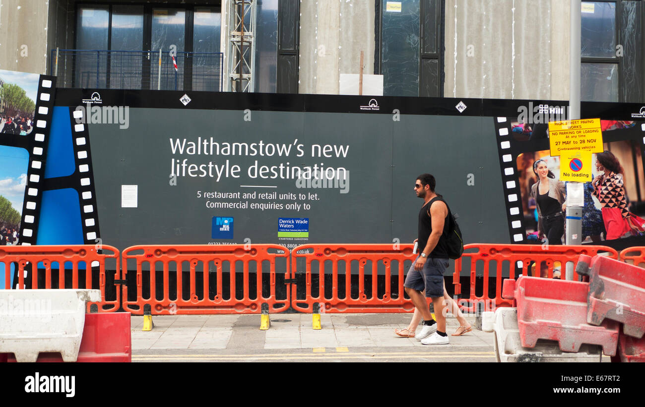 New flats affordable homes sign housing building under construction site roadworks and lifestyle hoarding in  Walthamstow - Stock Image