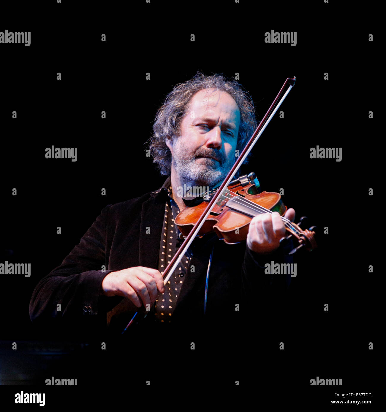Steve Wickham of The Wayerboys playing a fiddle on stage at Fairport's Cropredy Convention 2014 - Stock Image