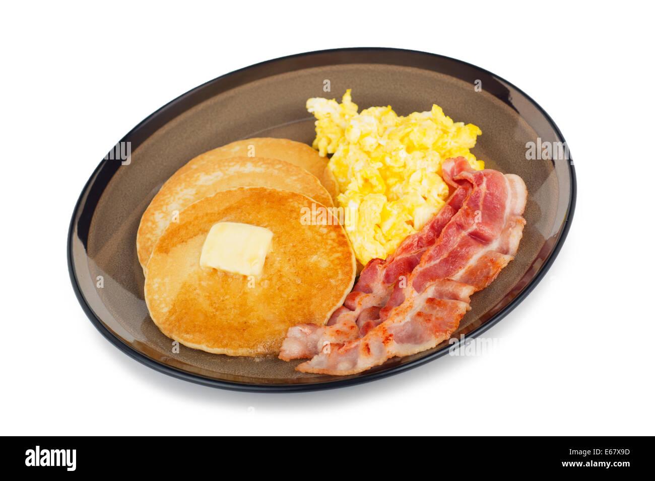Bacon Eggs Scrambled, Pancakes Pancake Breakfast - Stock Image