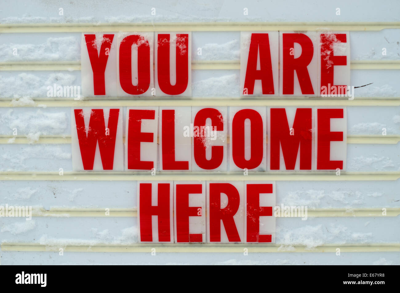 outdoor reader board with flexible plastic marquee sign letters saying you are welcome here