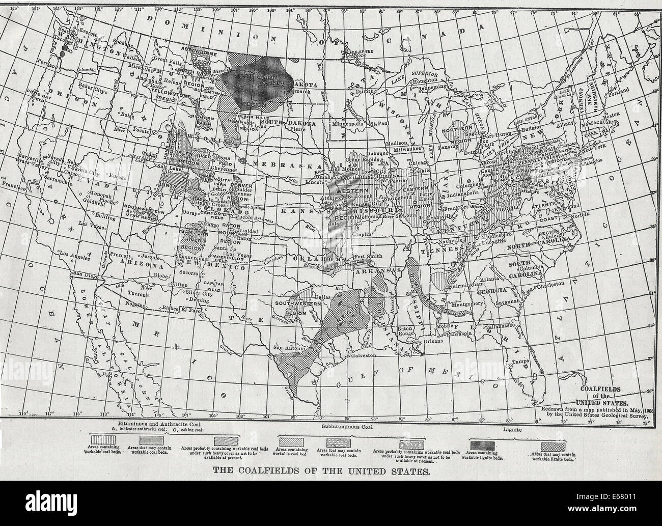 Map Of The Coalfields Of The United States 1908 Stock Photo - Us-map-1908