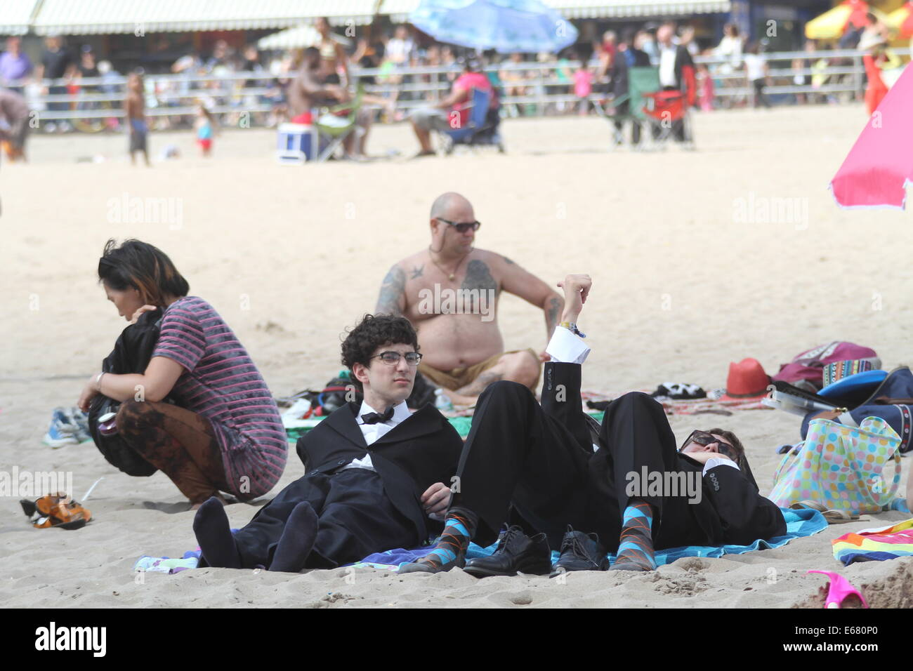 New York, New York, USA. 17th Aug, 2014. Coney Island Brooklyn - The Group who puts on No Pants Subway Ride .(improveverywhere) - Stock Image