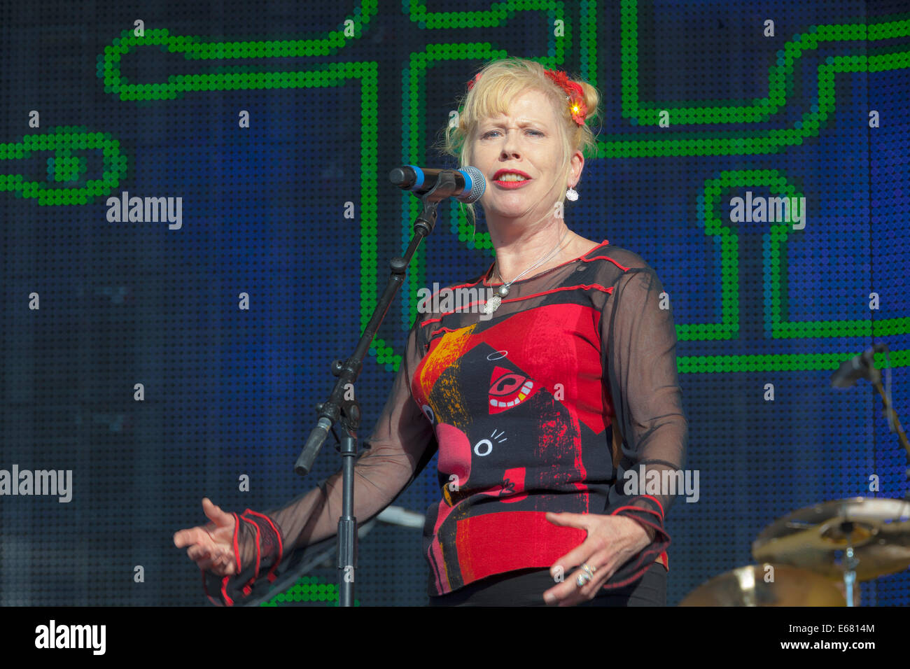 "Remenham Henley-on-Thames Oxfordshire UK. 17 August 2014. Singer HAZEL O'CONNOR performs on-stage at the 2014 ""Rewind Stock Photo"