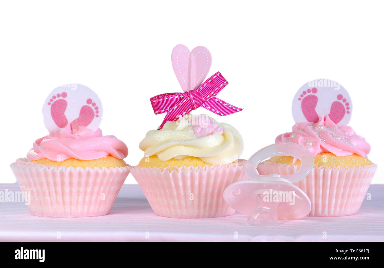 Three Pink Theme Baby Girl Cupcakes With Dummy Pacifier