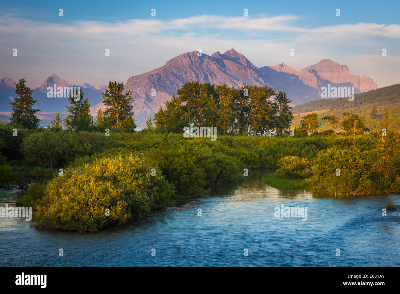 Divide Creek in Glacier National Park,  Montana, on the Canada–United States border - Stock Image