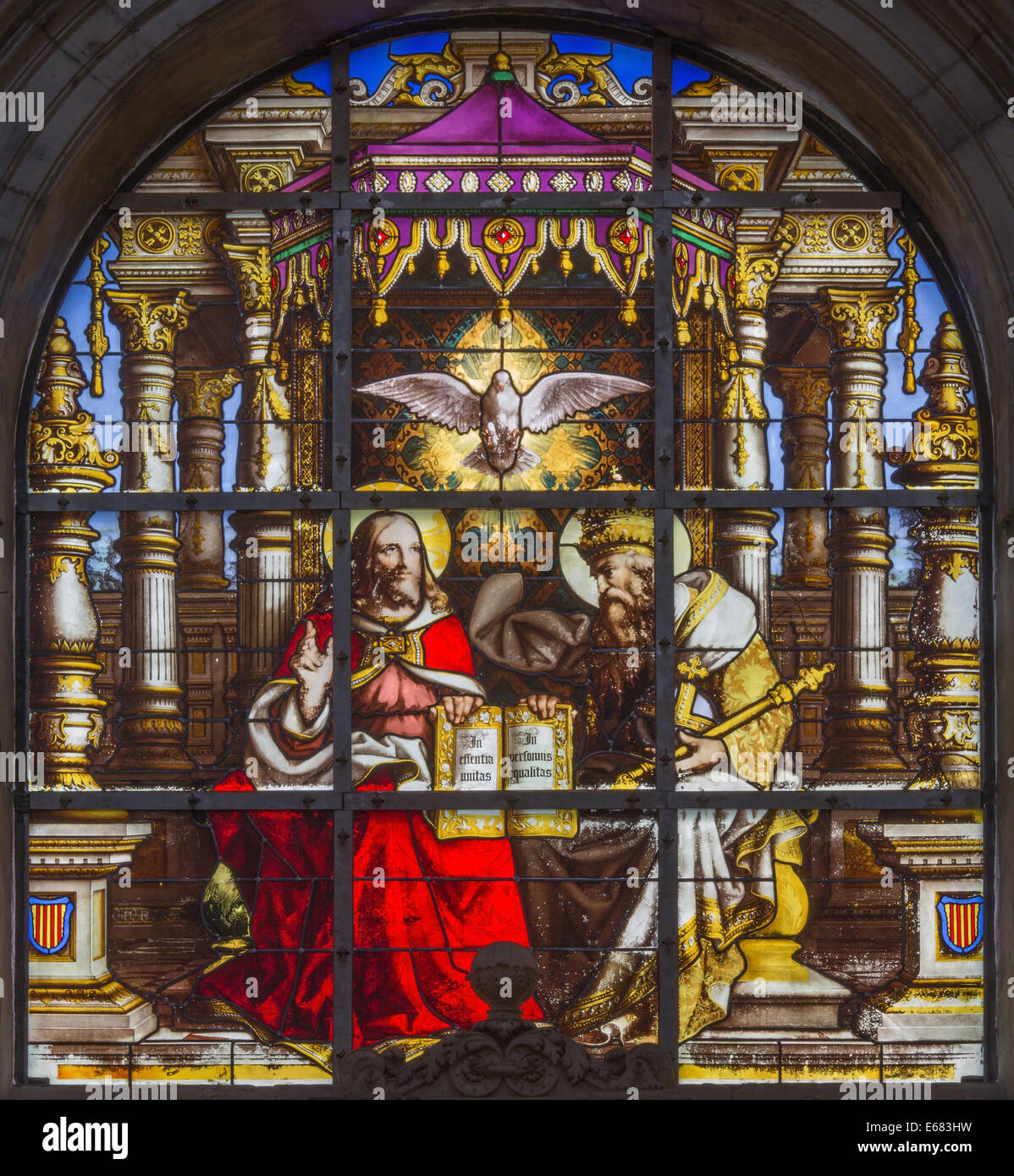 BRUSSELS, BELGIUM - JUNE 16, 2014: The Holy Trinity on windwopane from 19. cent. in the cathedral of st. Michael - Stock Image