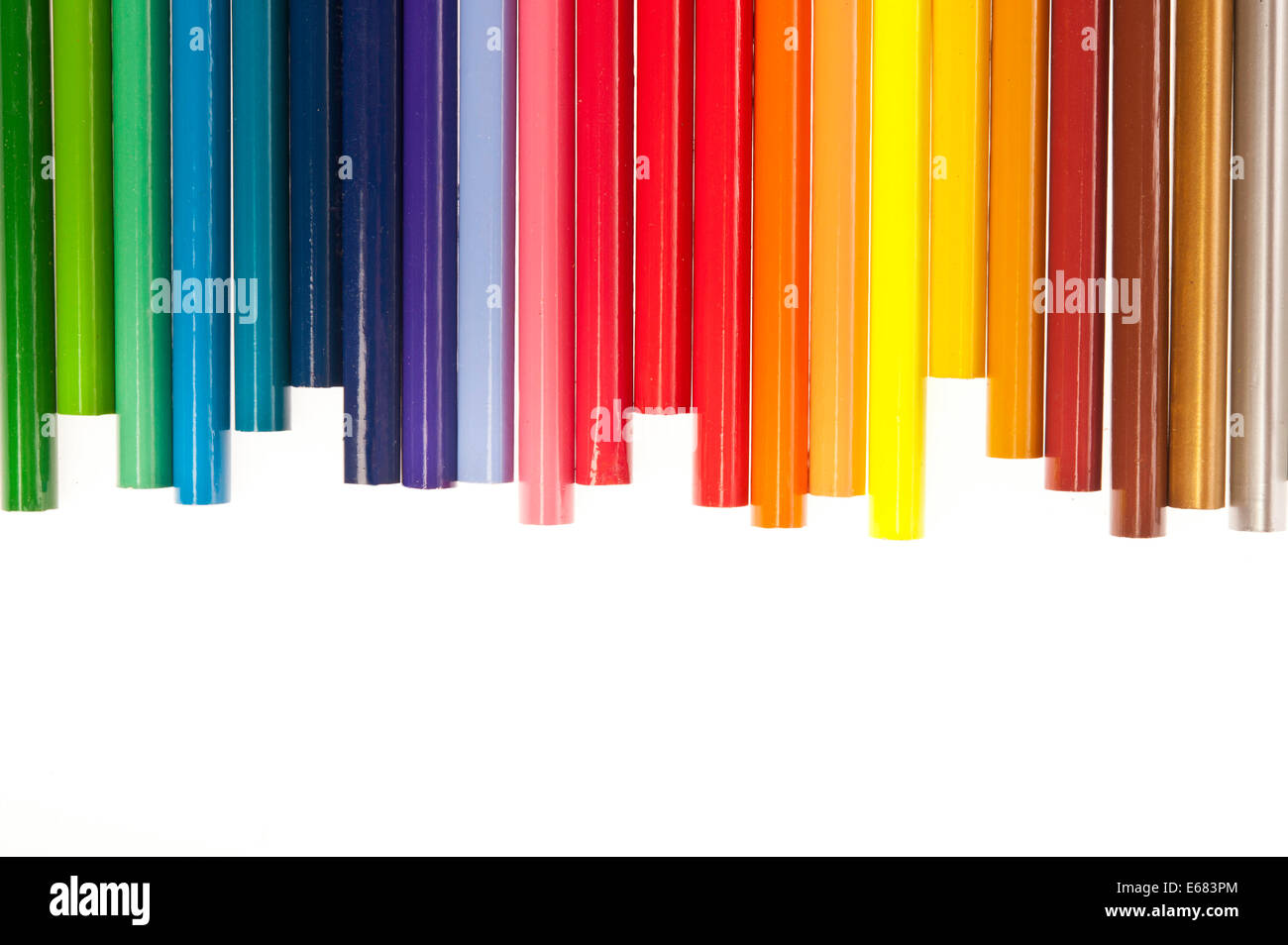 colouring pencils, bottom side - Stock Image