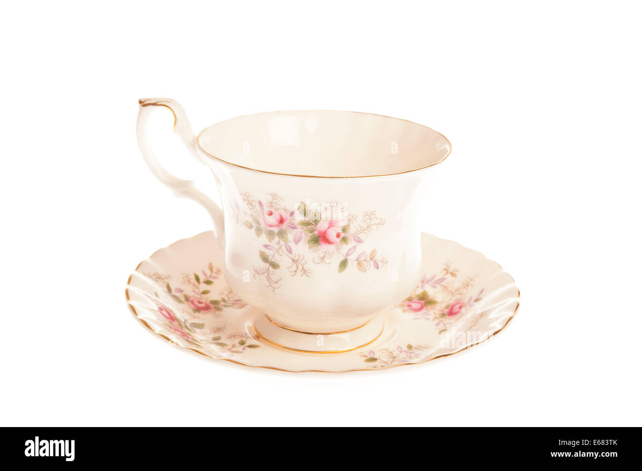 cup for tea decorated, cup and saucer - Stock Image