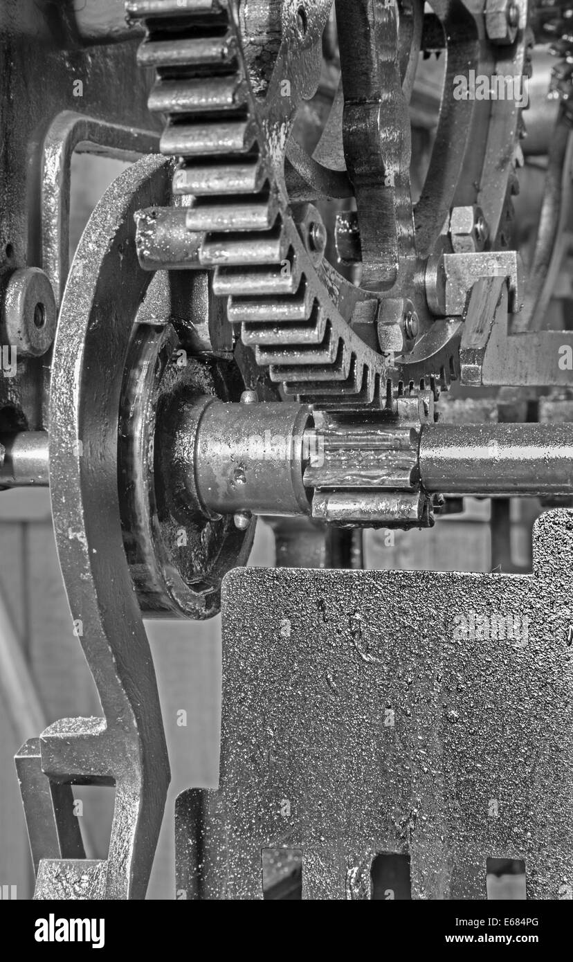 detail of clockwork from colcktower - Stock Image