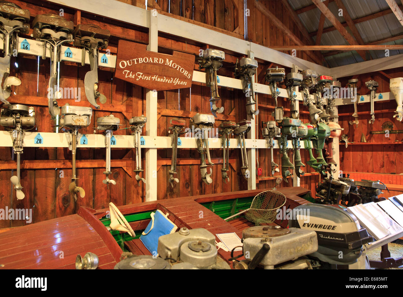 Various outboard boat motors on display at the Lake Champlain Maritime Museum in Vergennes, Vermont - Stock Image