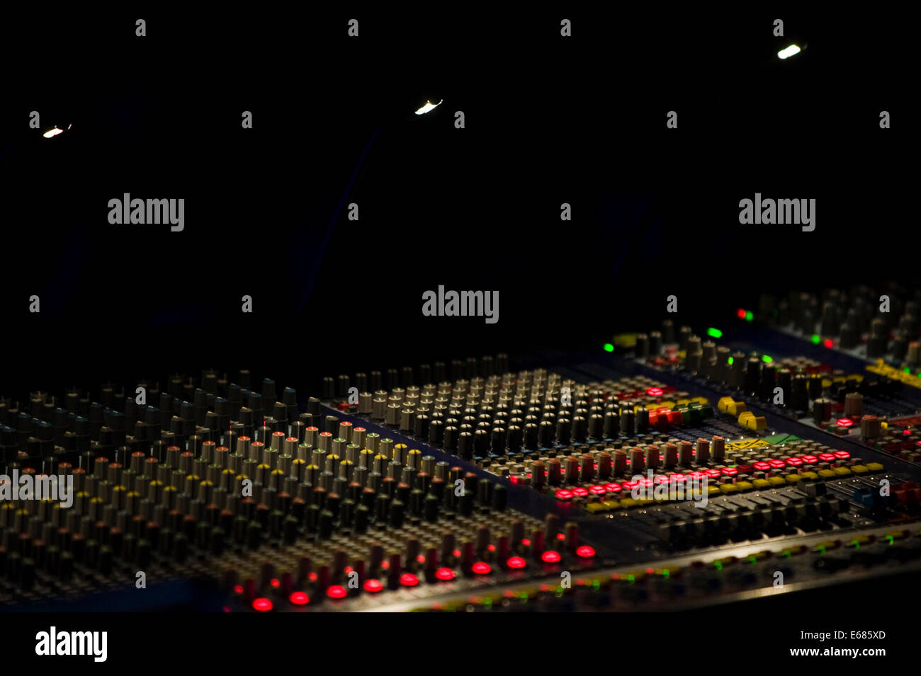 Live music sound console in use during Brecon Jazz Festival 2014 - Stock Image