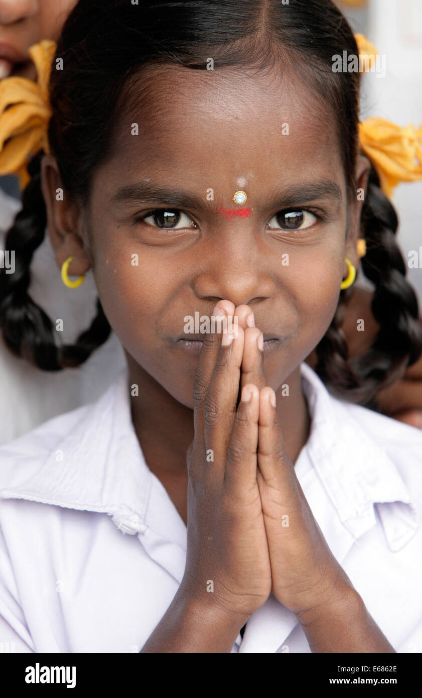 Greeting india stock photos greeting india stock images alamy young indian girl traditional greeting with her folding hands tamil nadu india m4hsunfo