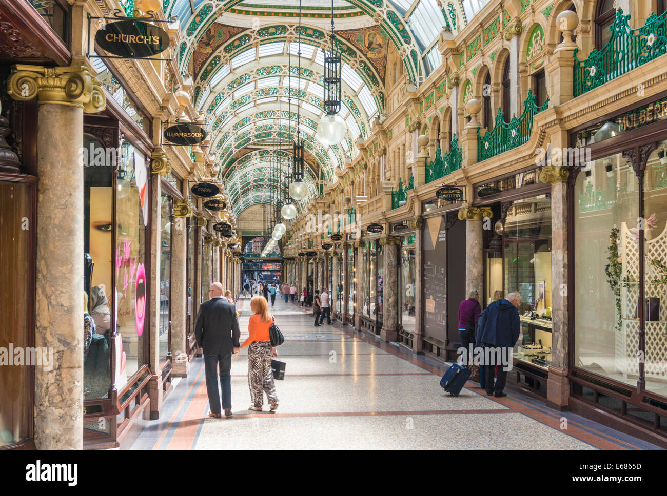 yorkshire Leeds yorkshire County Arcade shopping  Victoria Quarter Leeds City Centre Leeds West Yorkshire England - Stock Image