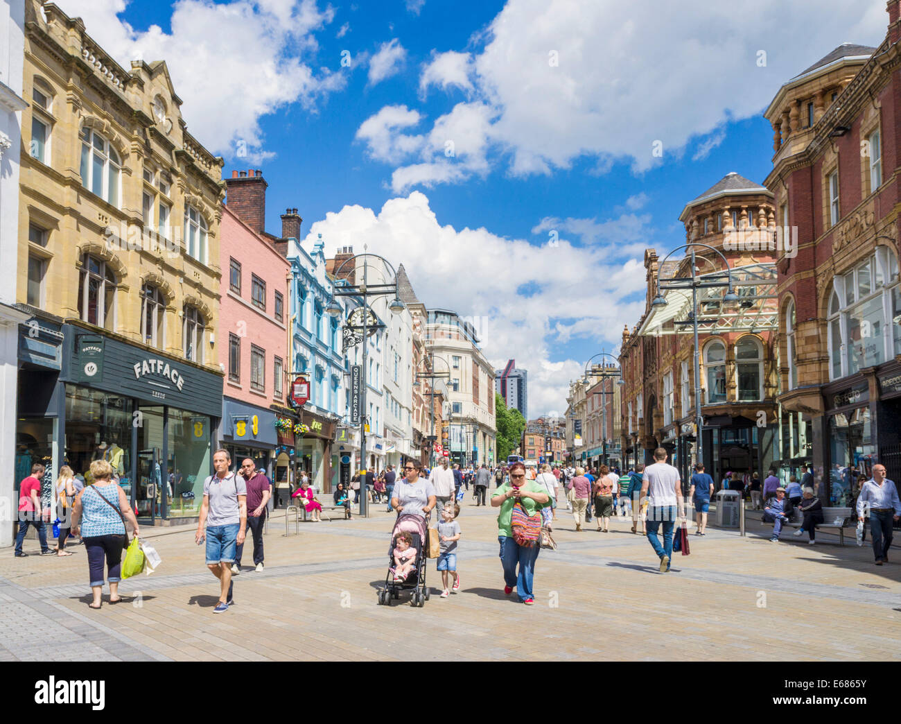 Briggate Shopping Street in Leeds City Centre Leeds West Yorkshire England UK GB  Europe - Stock Image