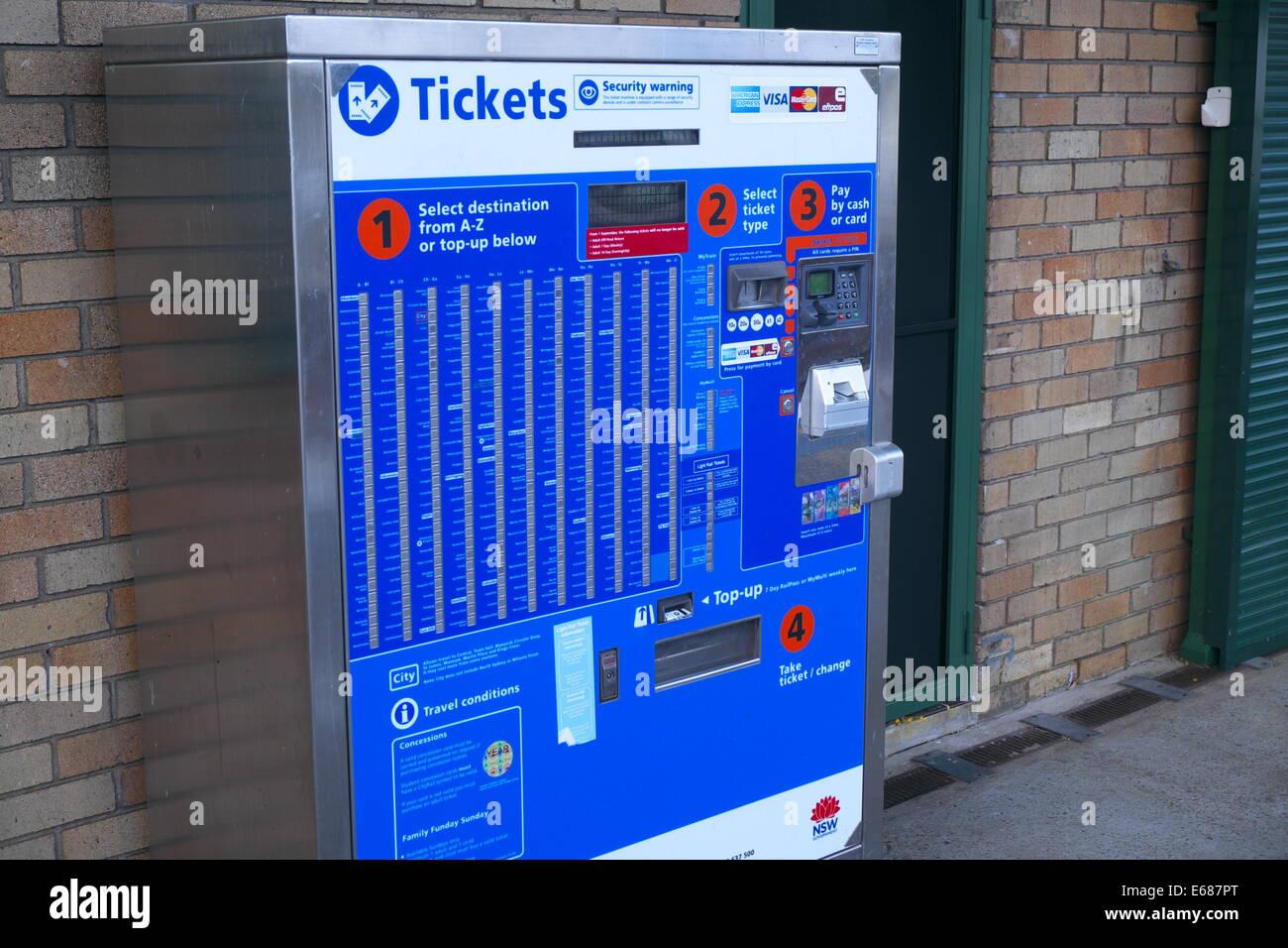 ticvket machine on sydney rail network,australia - Stock Image