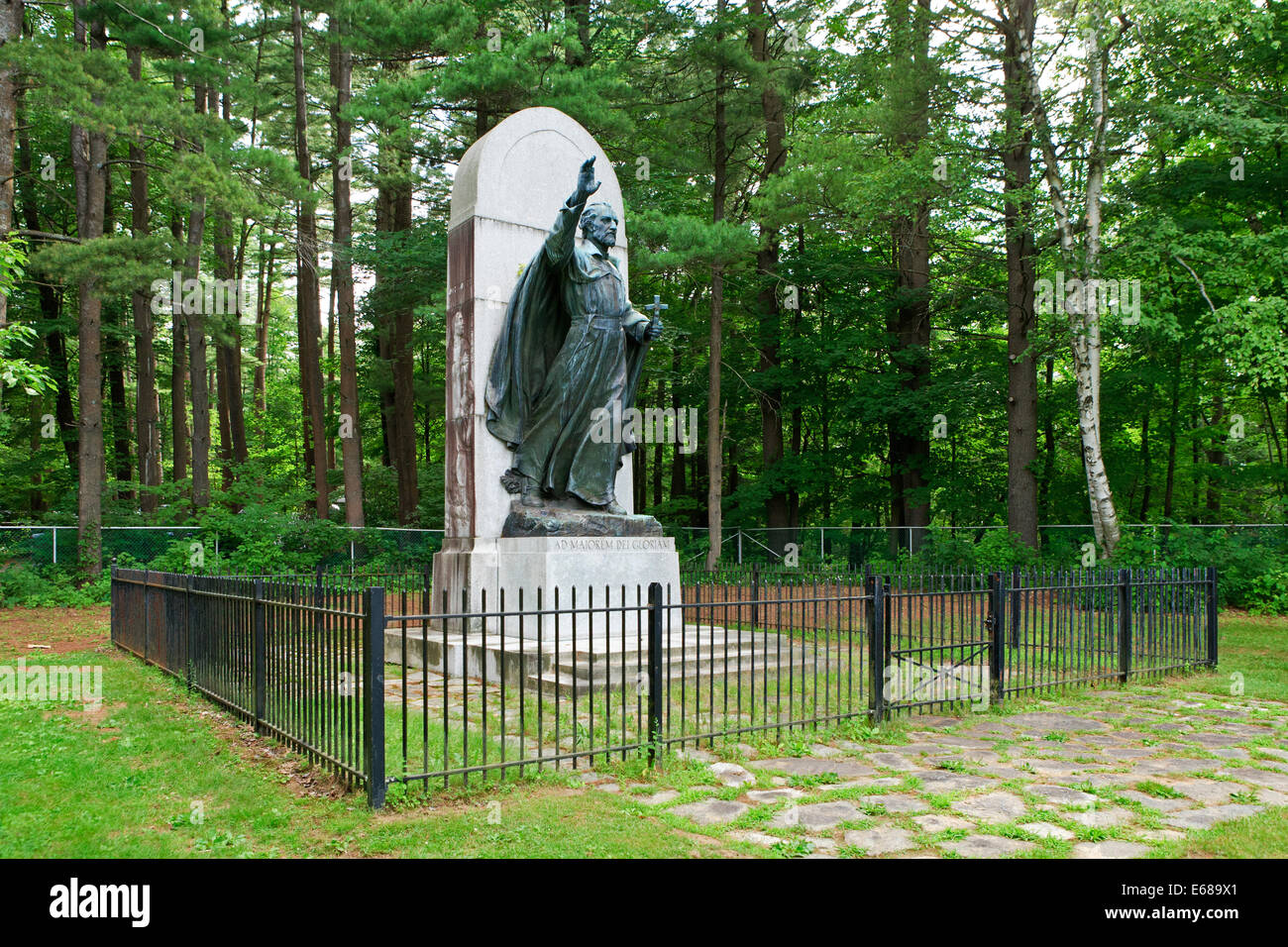 Statue for Isaac Jogues French Missionary to the Lake George area of New York State, - Stock Image