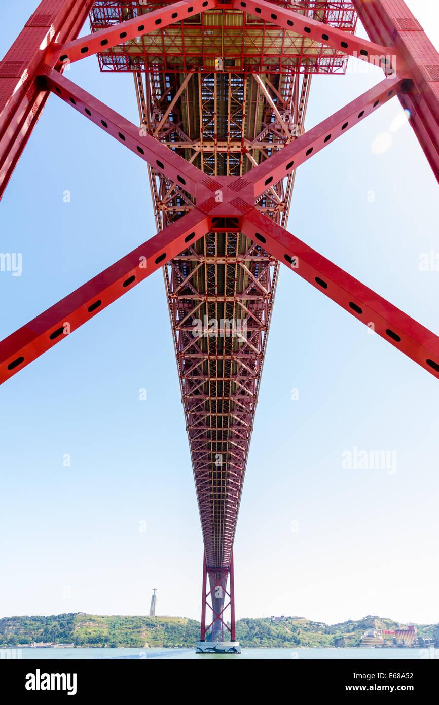 The 25 de Abril Bridge (Ponte 25 de Abril) is a suspension bridge connecting the city of Lisbon, capital of Portugal. Stock Photo