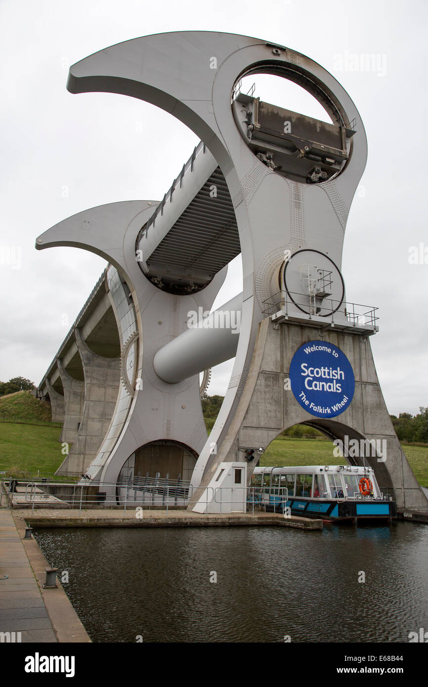 The Falkirk Wheel is a rotating boat lift connecting the Forth and Clyde Canal with the Union Canal, Scotland - Stock Image