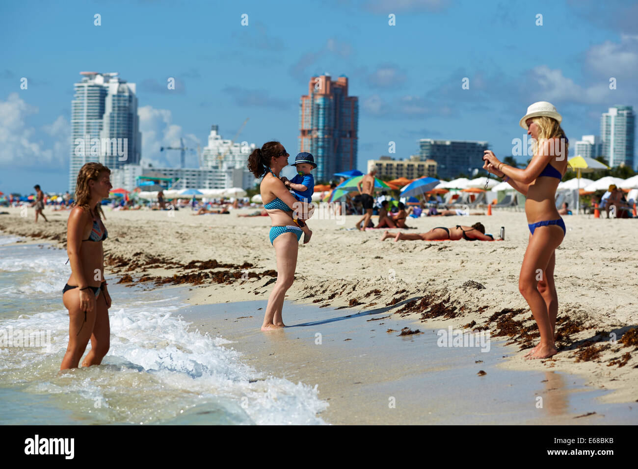 South Beach on Ocean Drive, Miami in Florida USA William Waugh Marie Barber - Stock Image