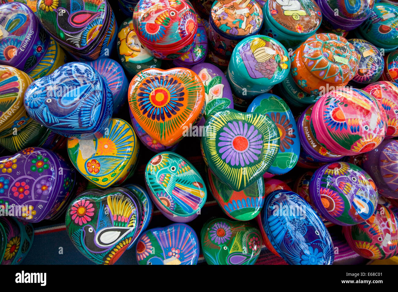 Hand painted jewelry cases for sale at a roadside stand near the Mayan ruins of Palenque, Chiapas, Mexico. - Stock Image