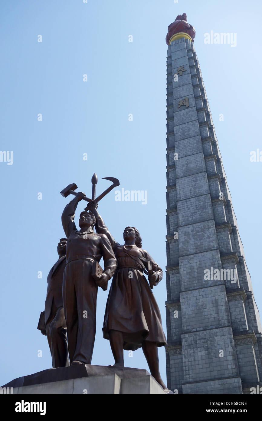 Tower of Juche, Pyongyang, North Korea, Juche Tower - Stock Image