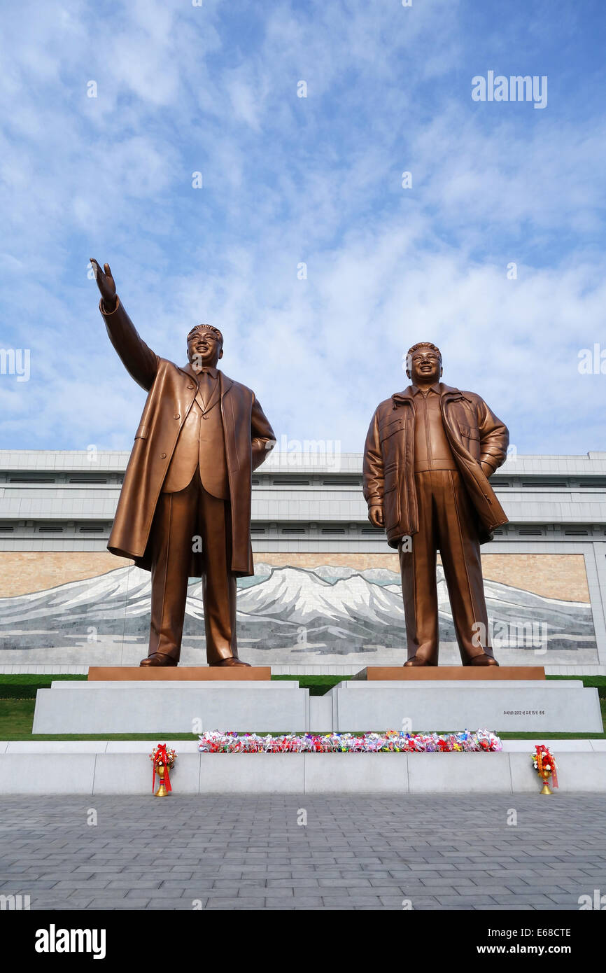 The Two Statues Of The Dear Leaders In Grand Monument Of Mansu Hill, Pyongyang, North Korea - Stock Image