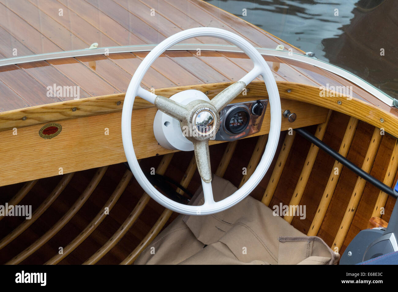 Steering Wheel On Classic Boat Made Of Wood Stock Photo Alamy
