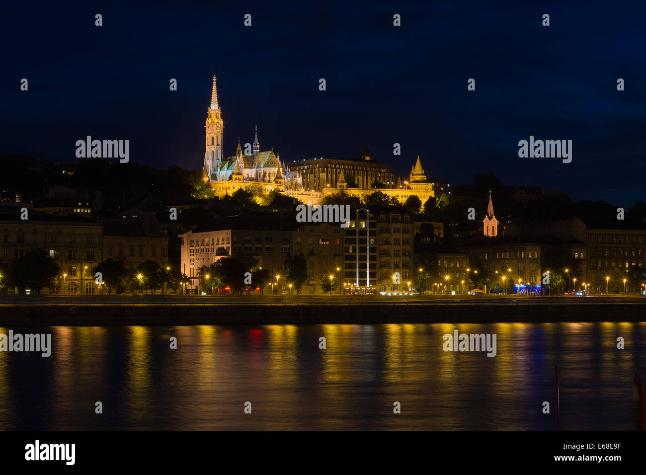 View of Fisherman's Bastion over the Danube Budapest with Matthias Church - Stock Image