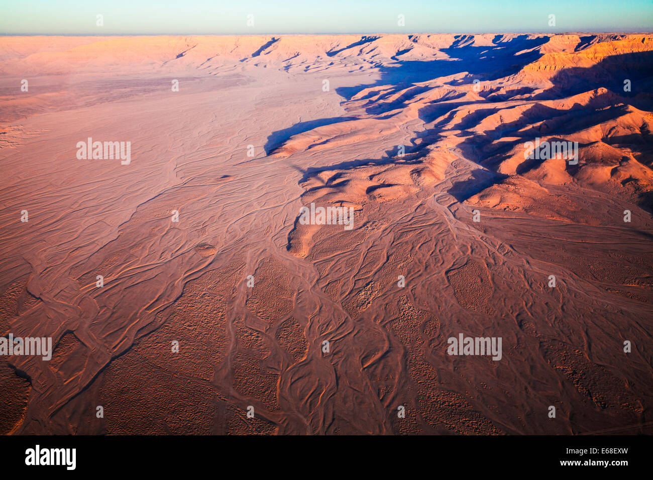 Aerial view of the desert landscape near the Valley of the Kings on West Bank of the Nile in Egypt. - Stock Image