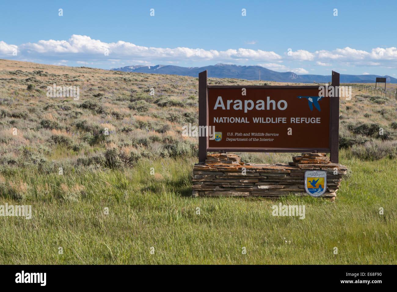 Arapaho National Wildlife Refuge Sign - Stock Image