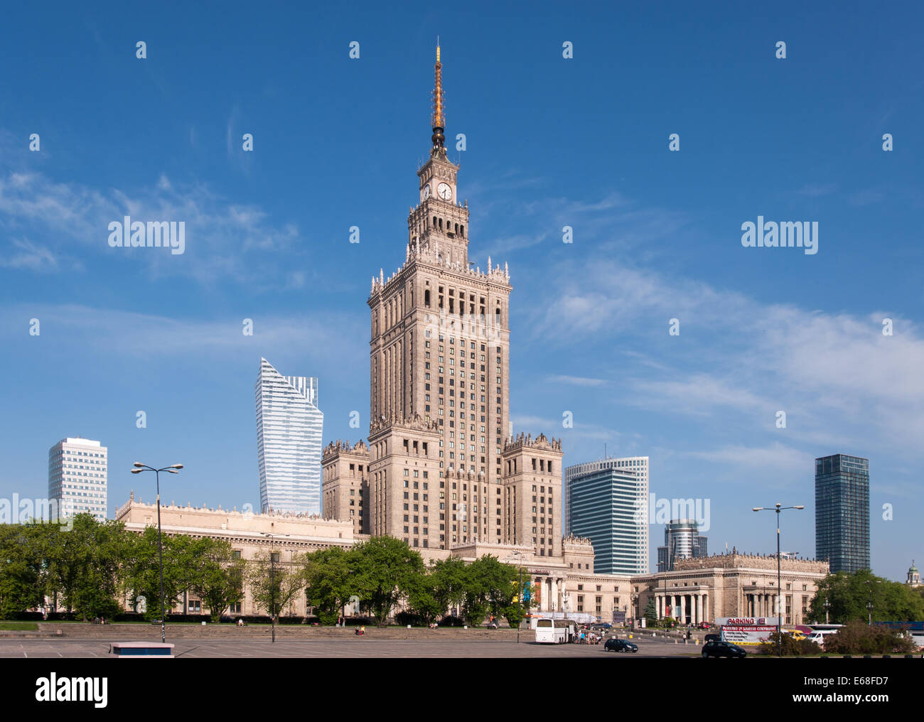 Warsaw city center with Palace of Culture and Science (PKiN),  a landmark and symbol of Stalinism and communism - Stock Image