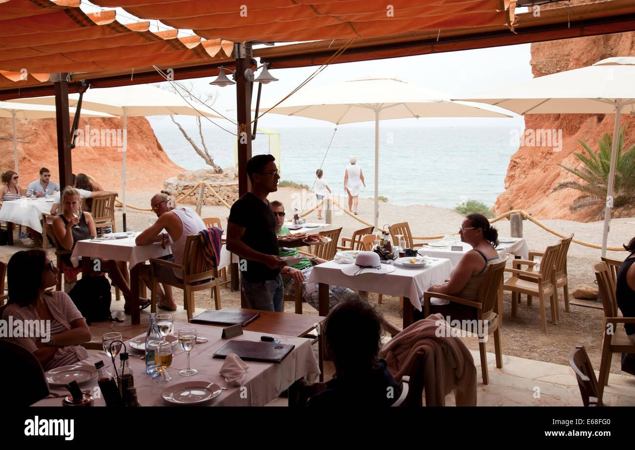 Sa Caleta Beach Restaurant in Ibiza - Stock Image