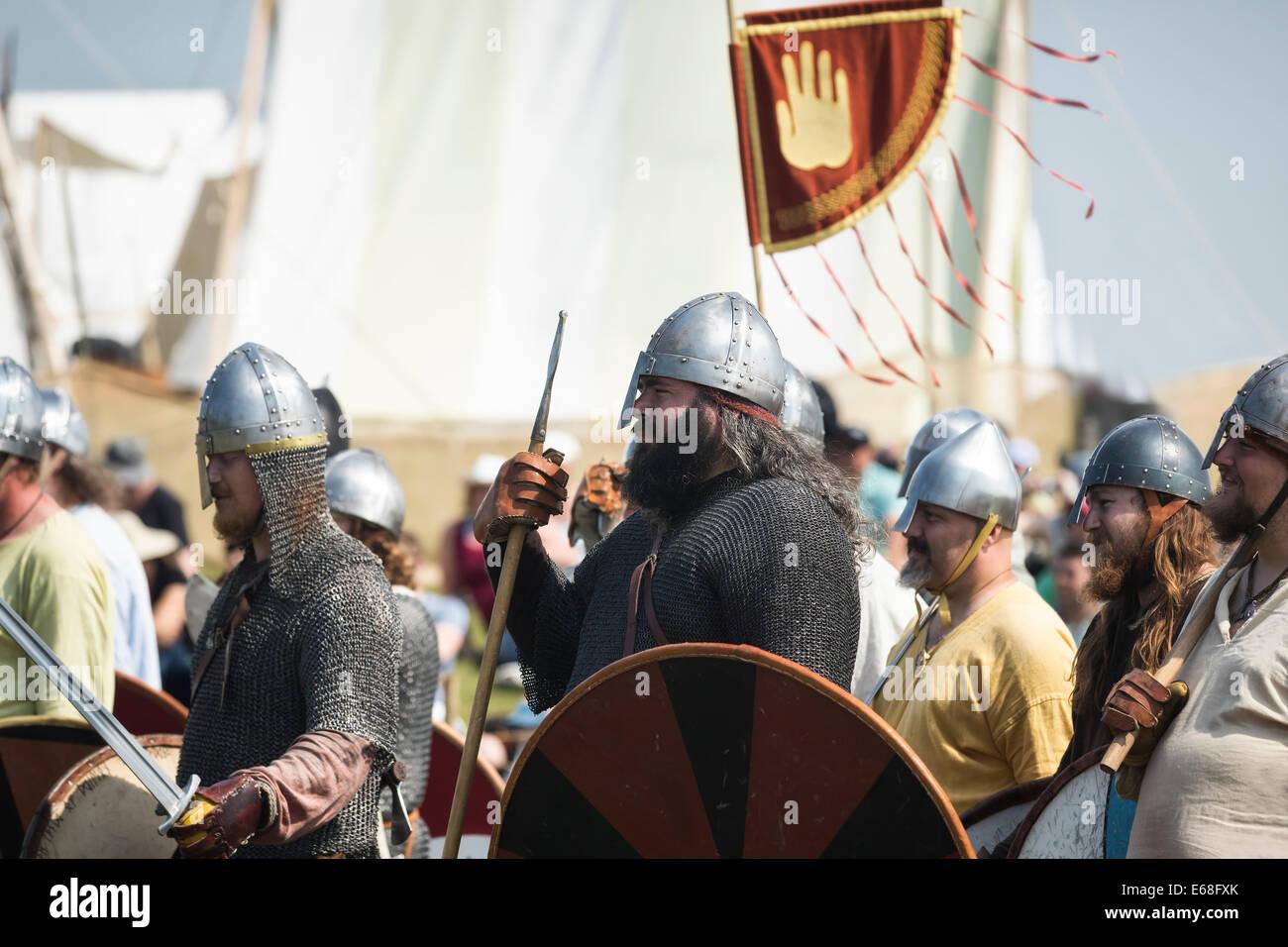 Vikings in battle re-enactment at the Icelandic Festival of Manitoba, Gimli, Manitoba, Canada - Stock Image
