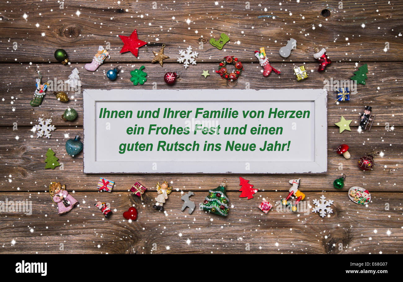 Christmas card with colorful decoration and german text merry stock christmas card with colorful decoration and german text merry christmas for your family and a happy new year m4hsunfo