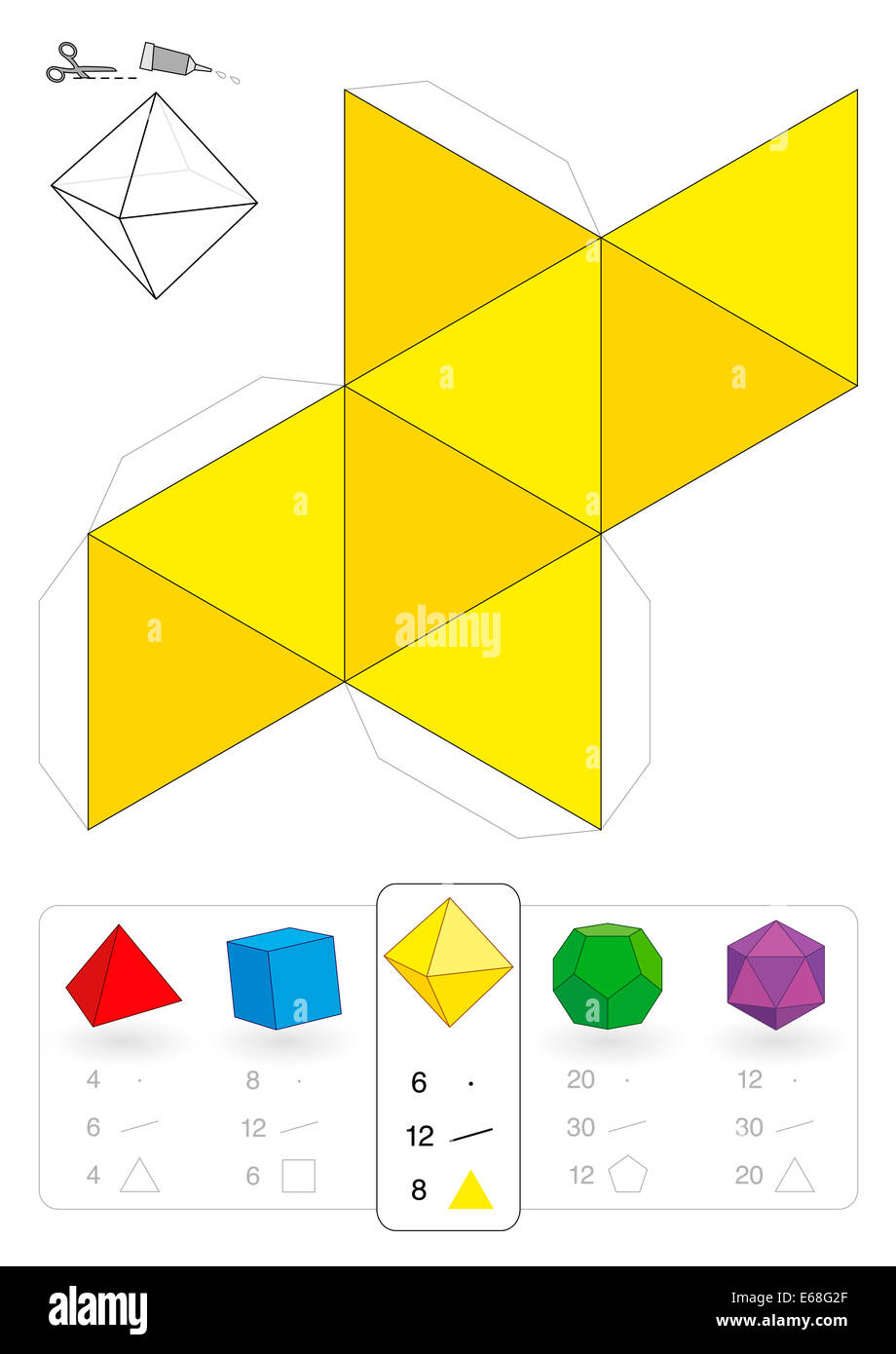 Paper model of an octahedron, one of five platonic solids, to make a ...