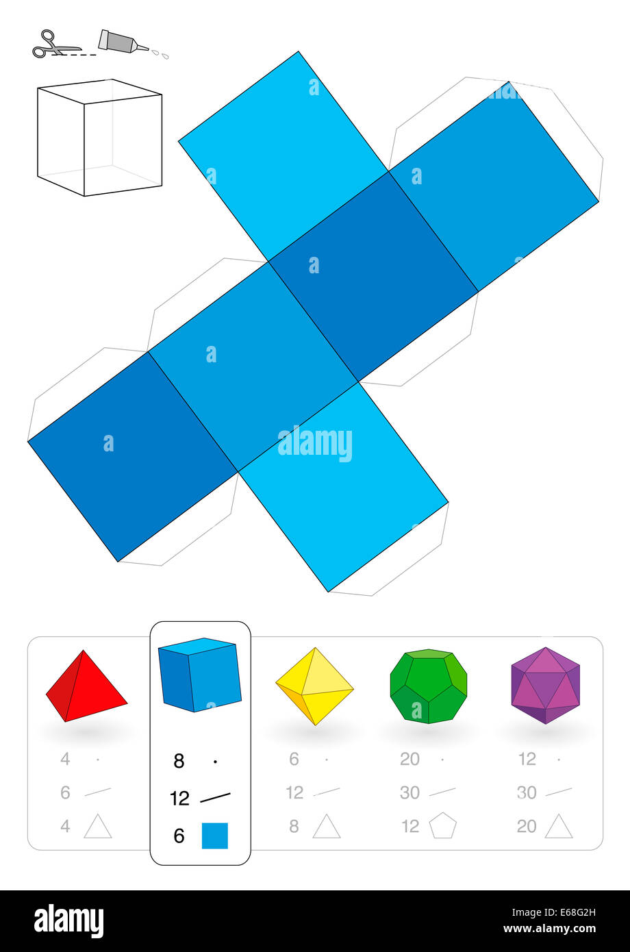 Paper model of a cube or hexahedron, one of five platonic solids, to make a three-dimensional handicraft work out - Stock Image