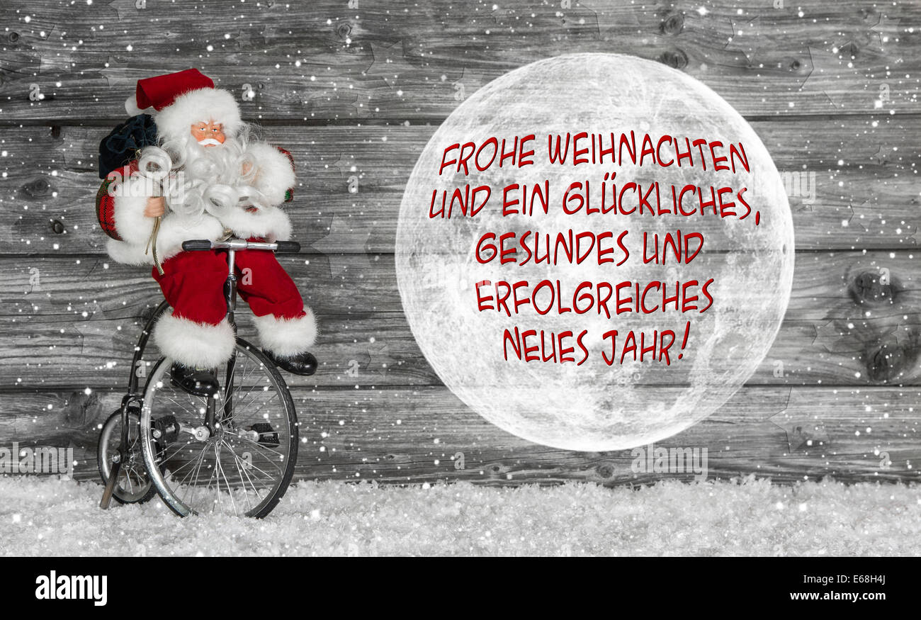 German new year greetings stock photos german new year greetings merry christmas card in red and white with german text and a santa claus m4hsunfo