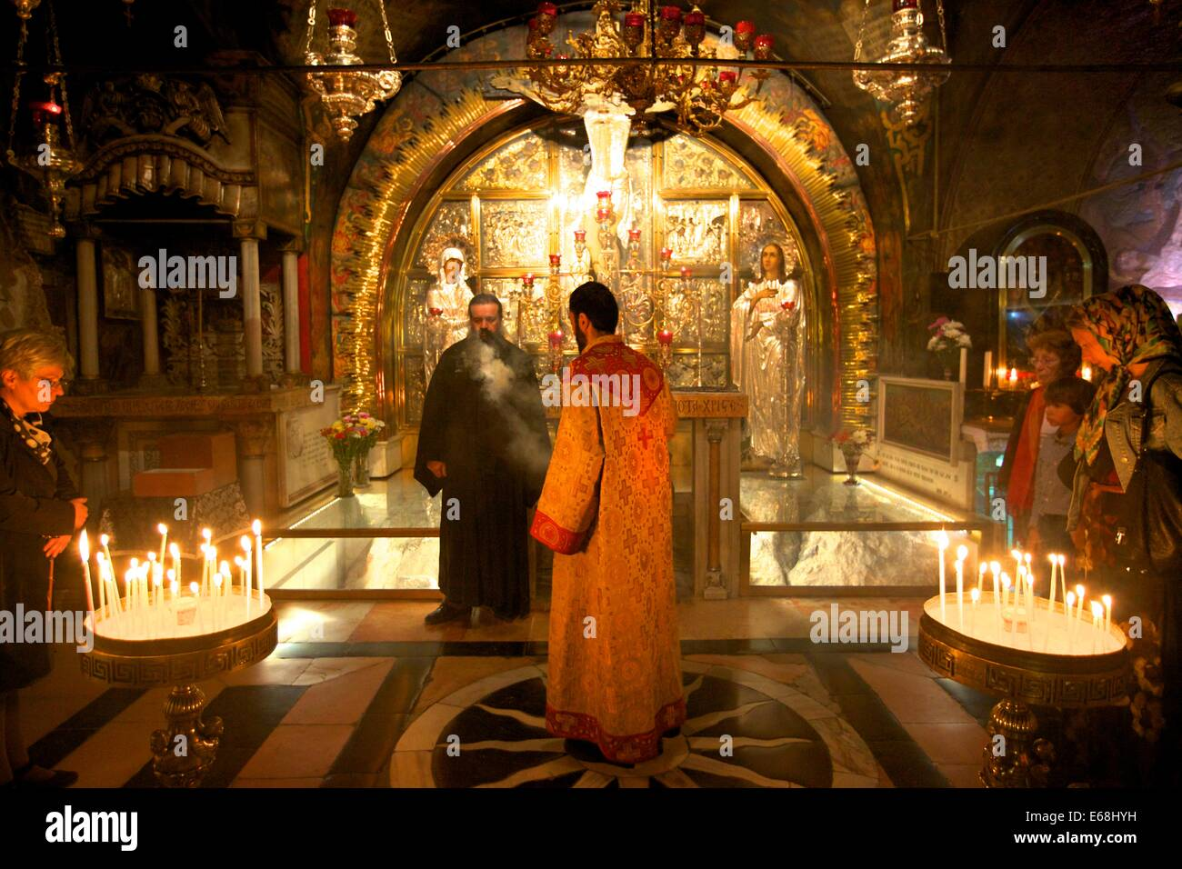The Stone of Unction, The Church of the Holy Sepulchre, Jerusalem, Israel, Middle East - Stock Image