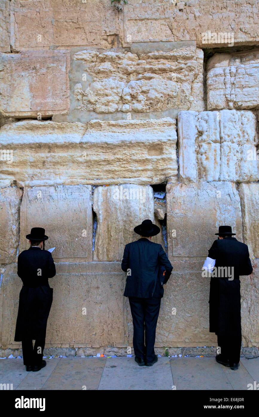 Worshipers At The Western Wall, Jerusalem, Israel, Middle East - Stock Image