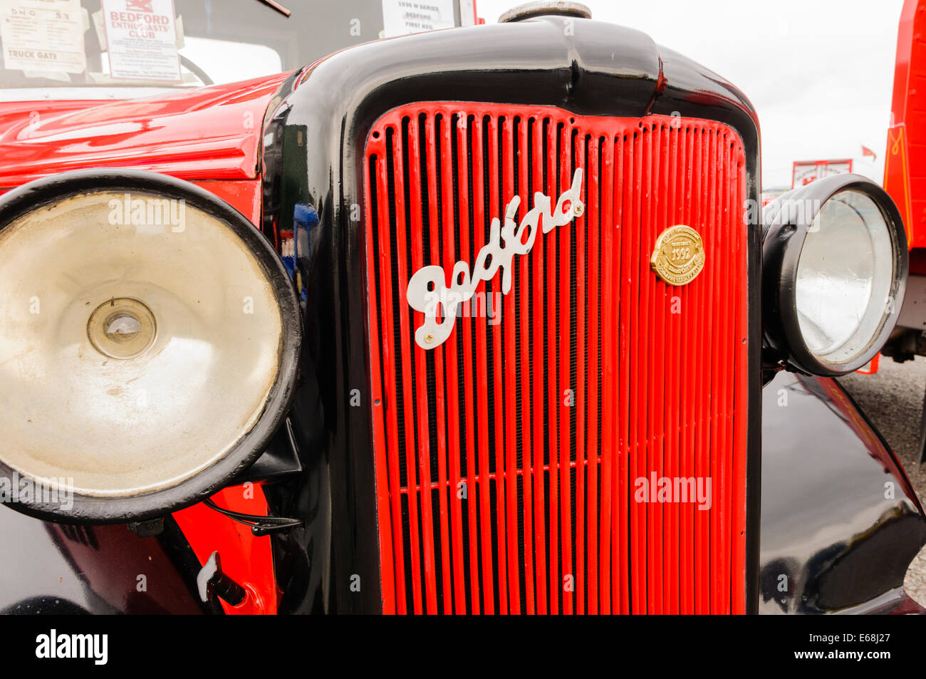 Grille and badge on an old Bedford lorry - Stock Image
