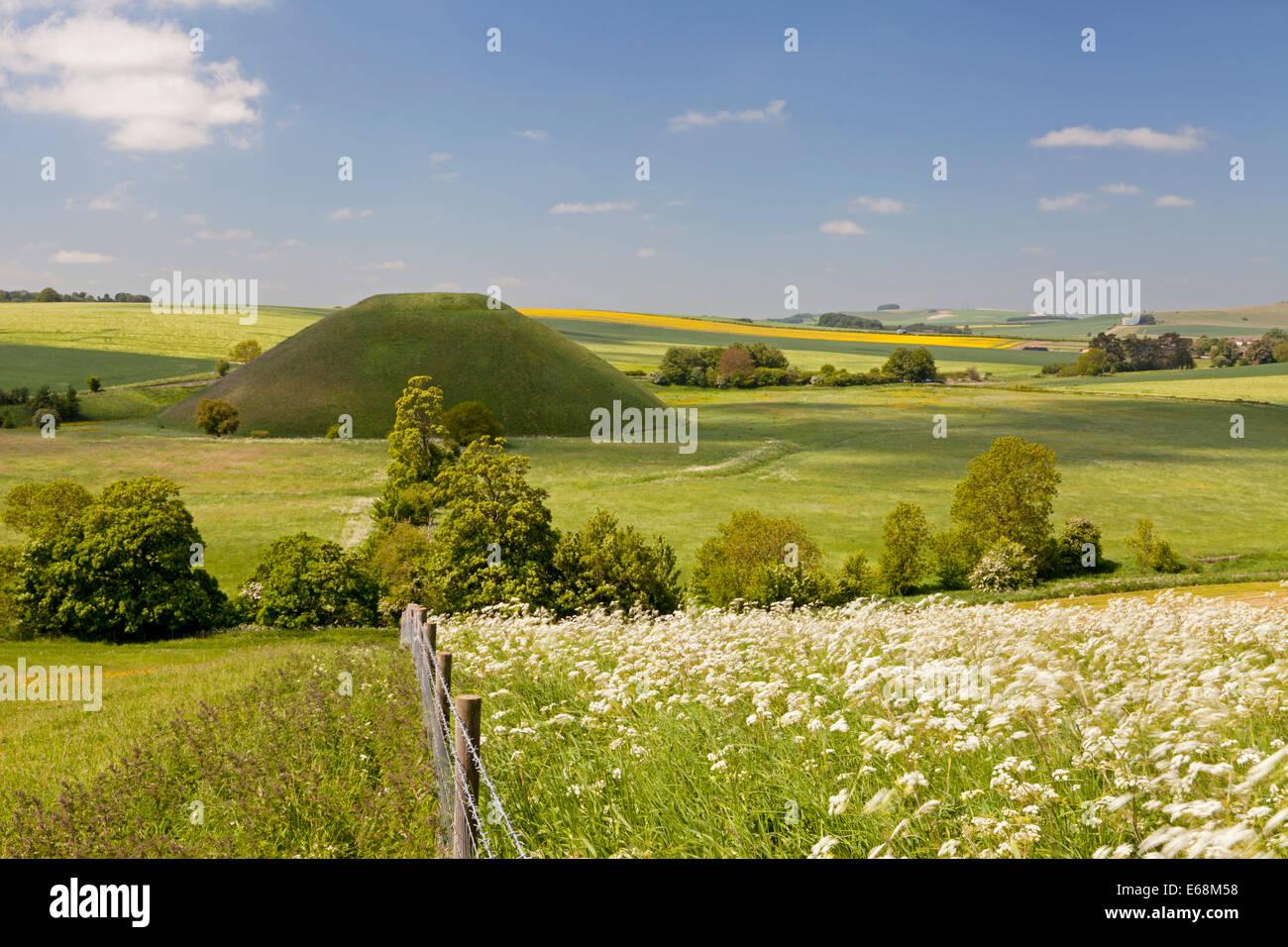 Silbury Hill near Avebury in Wiltshire, England. Stock Photo