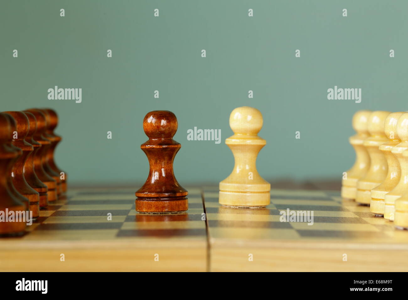 chess position - opponents started the game (each made pawn move) - Stock Image