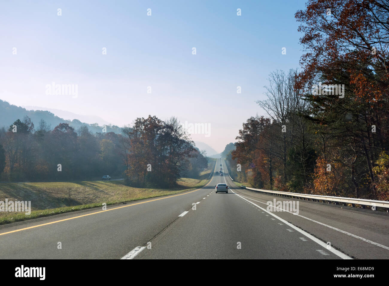 Interstate 40 in Tennessee just north of Great Smoky Mountains National Park, USA - Stock Image