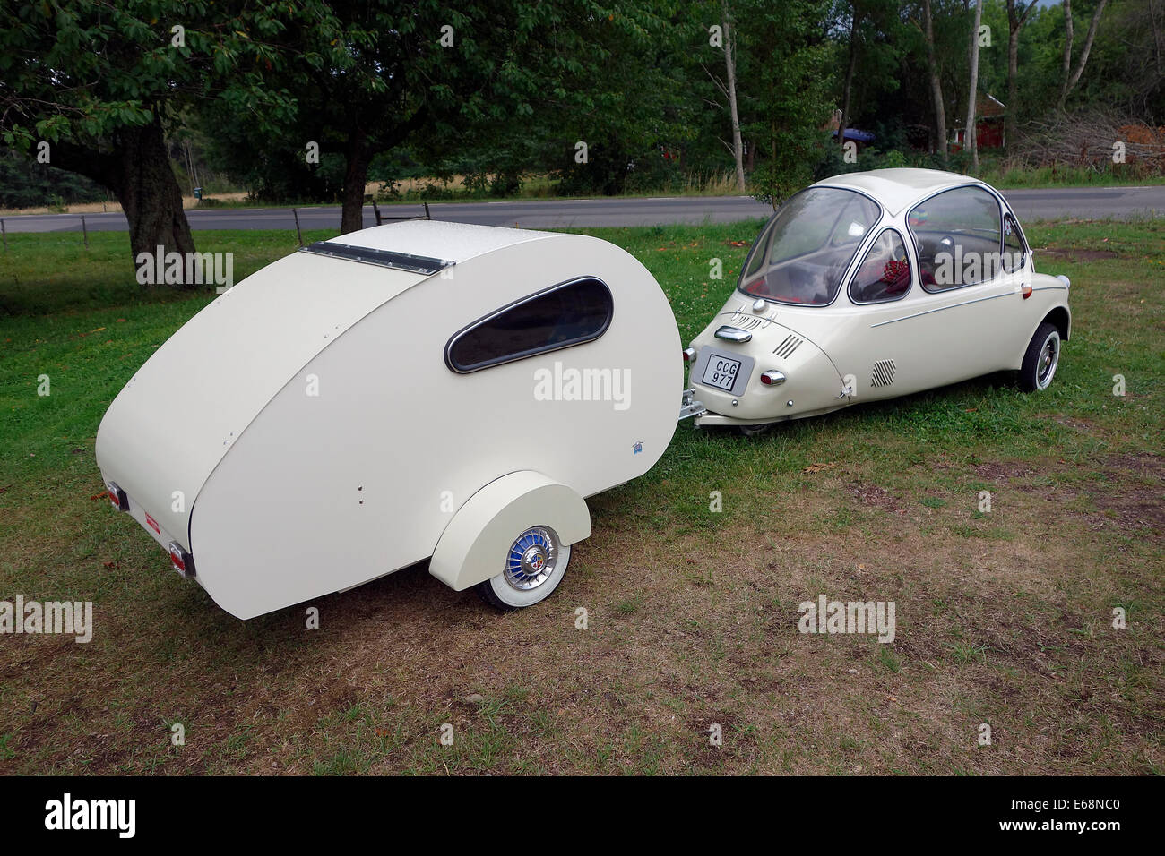 Heinkel Kabine Microcar From 1956 With Lightweight Homemade Camping Trailer