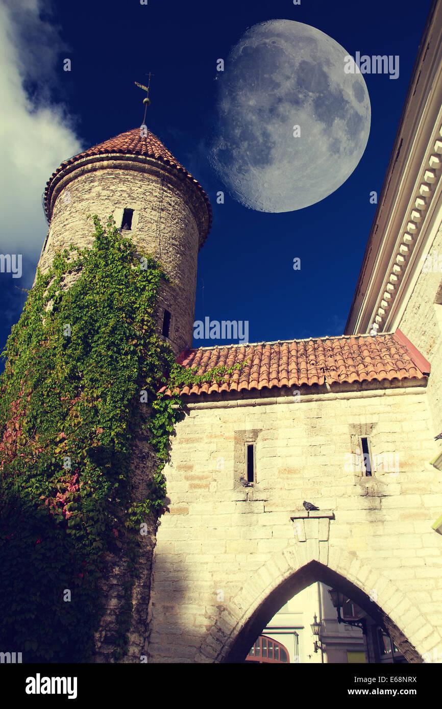 Tallinn towers fall - Stock Image